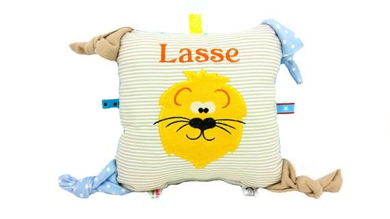 Baby pillow with name gripping lion