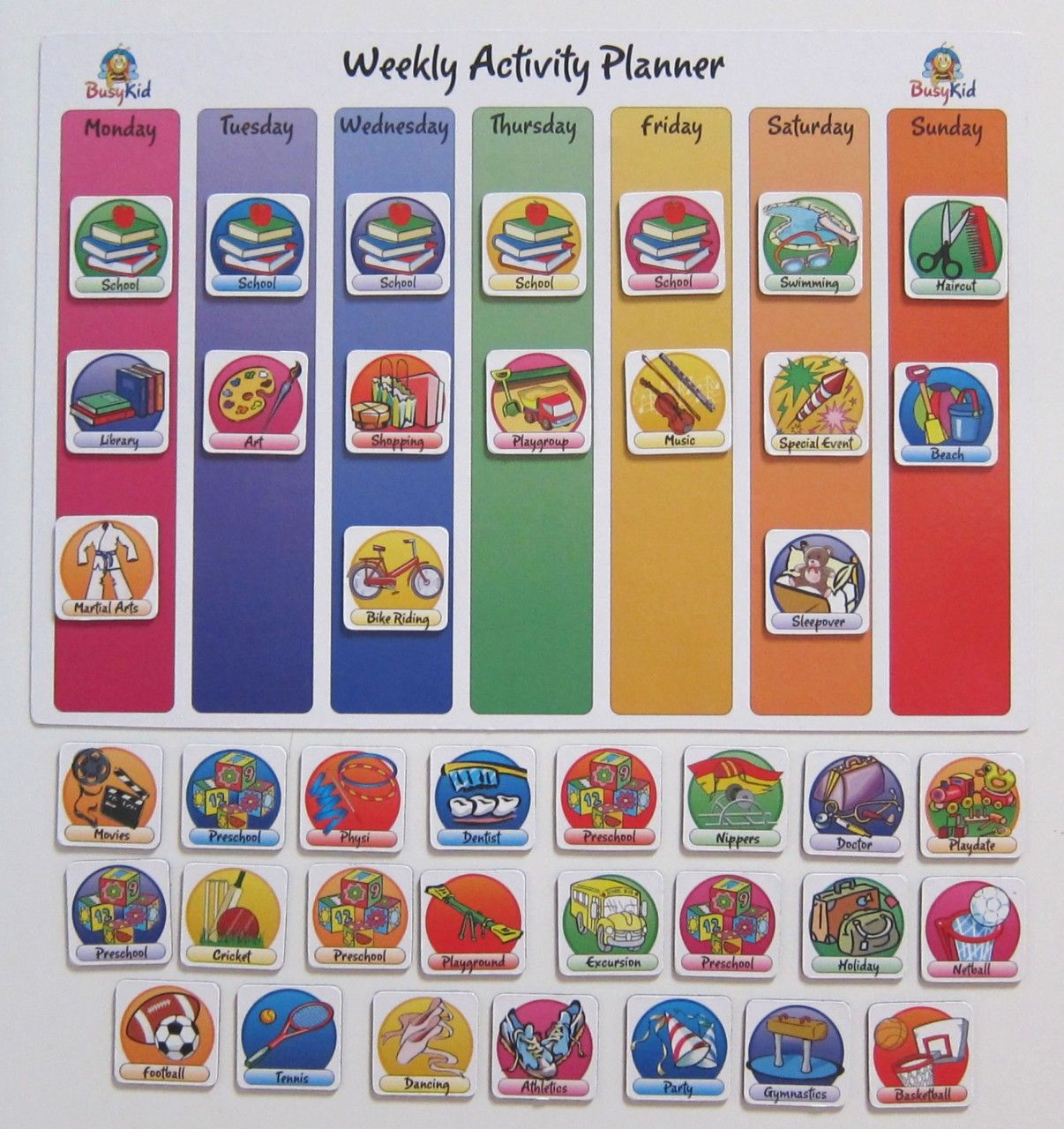 Weekly Calendar Magnet : Weekly activity planner for kids life planning