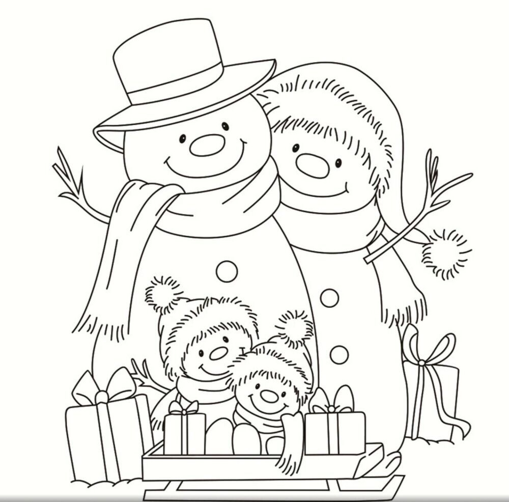 New Snowman Family Clear Christmas Stamp Christmas Coloring Pages Snowman Coloring Pages Family Coloring Pages