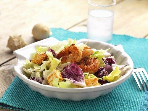 Shrimp salad and a glass of ouzo (Greece)