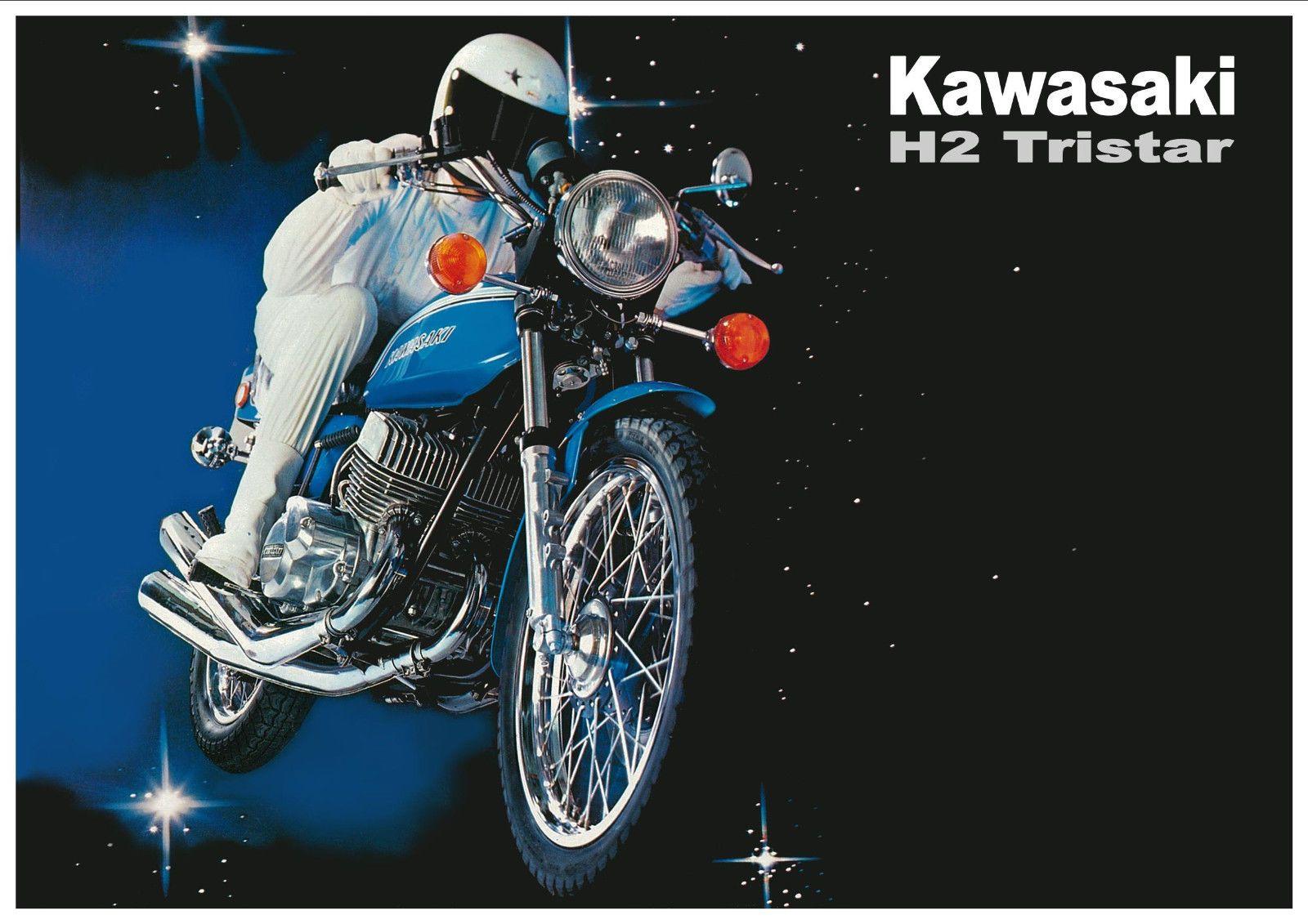 KAWASAKI Poster H2 Mach IV 750cc TriStar 1972 Suitable to