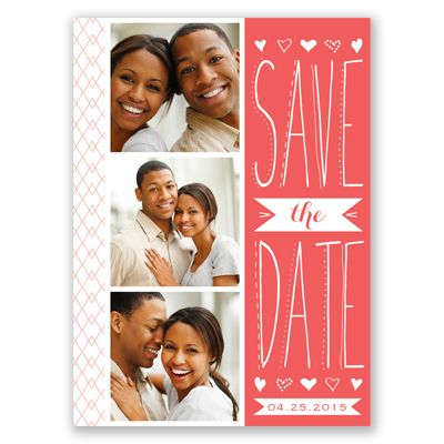 This sweet save the date postcard features a rustic, hand-made look. Your photos and a typography style are featured on the front displayed with the color of your choice.