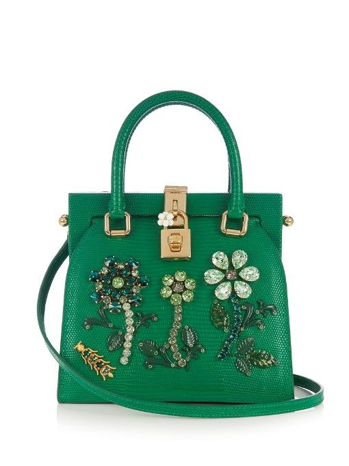 671118d8b4 Dolce & Gabbana Dolce Lady crystal-embellished lizard-effect tote ...