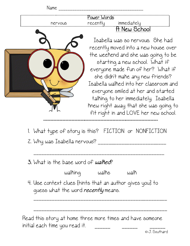 Worksheet Comprehension Passages For First Grade fun in first grade fluency comprehension and vocabulary packets grade