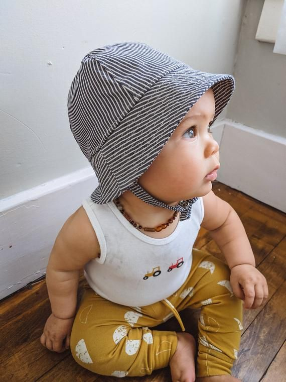 3f6f811d19042 Striped Denim Summer Sun Hat for Baby Boys and Girls. Bucket Hat with Chin  Straps