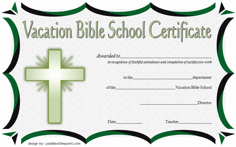 Vacation Bible School Certificate Of Completion Elegant