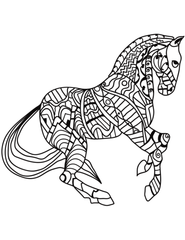 Trotting Horse Zentangle Coloring Page Horse Coloring Books Horse Coloring Pages Horse Coloring