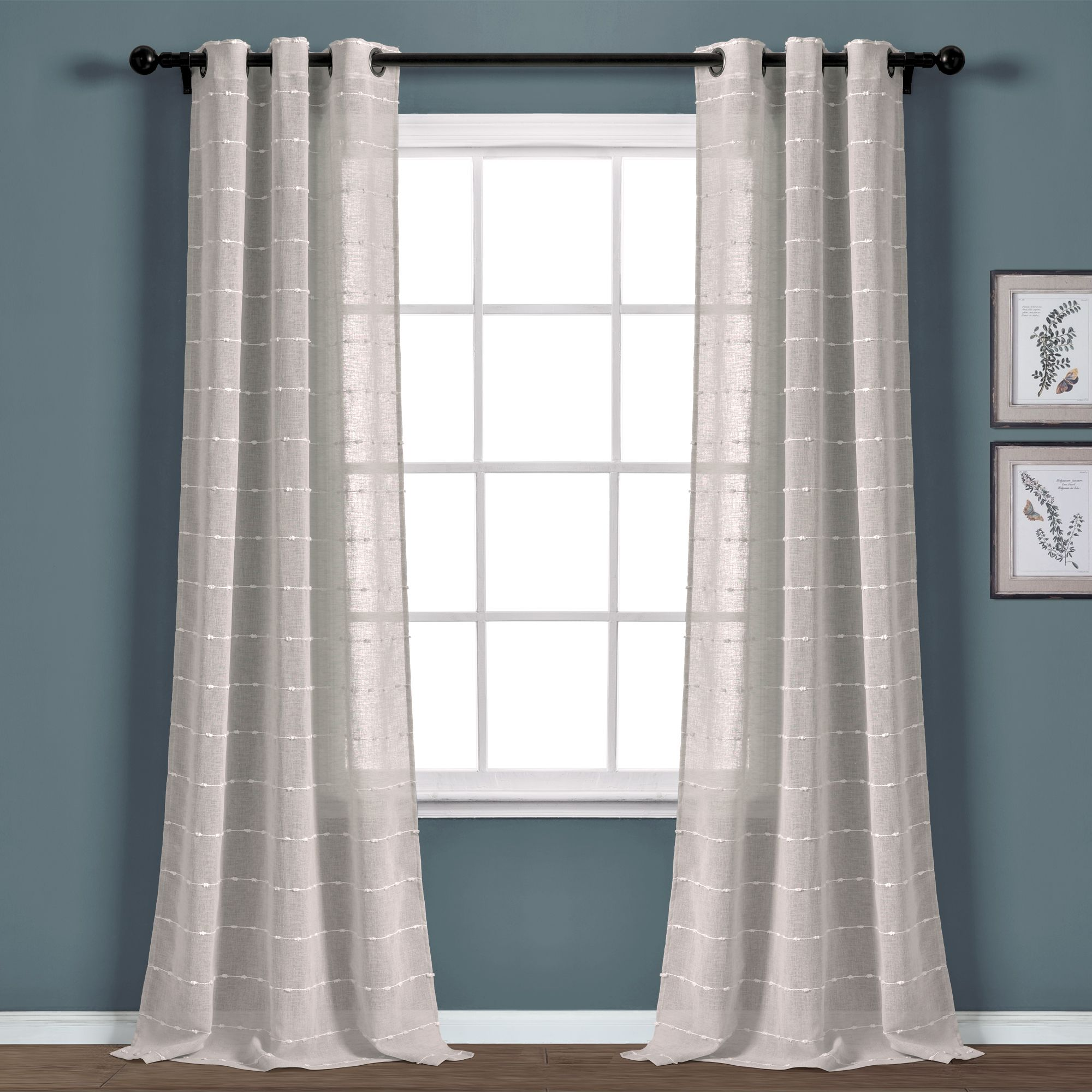 Farmhouse Textured Grommet Sheer Window Curtain Panel Set In 2020