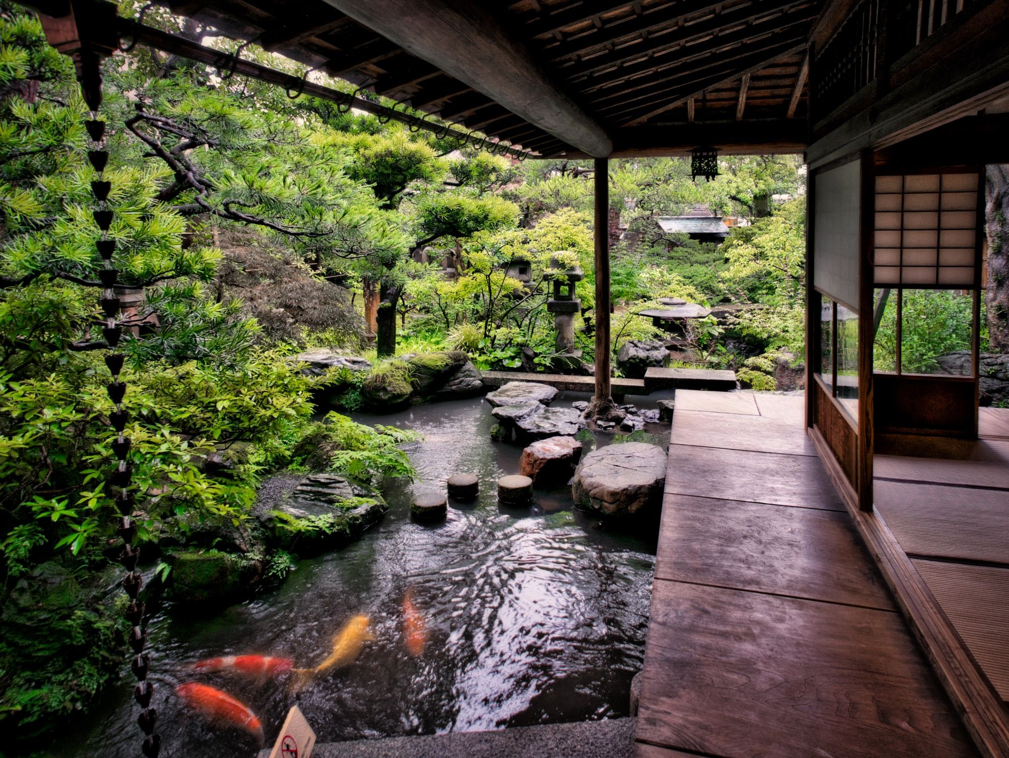 kanazawa japan stone lantern garden carp travel