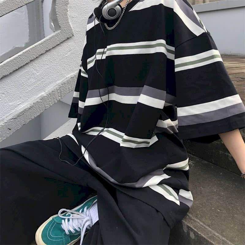 Cotton Short-sleeved T-shirt Women T Shirt Couple  Japanese Simple Striped Half-sleeved Summer Korean Loose Student Black Top - black / XL / China