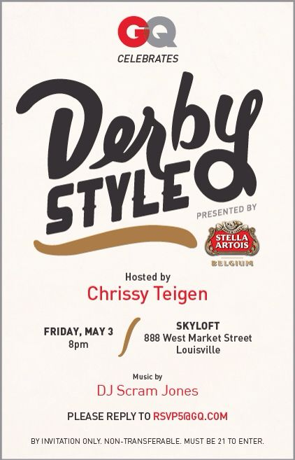 Kentucky Derby event May, 2013 with Model Chrissy Teigen for GQ