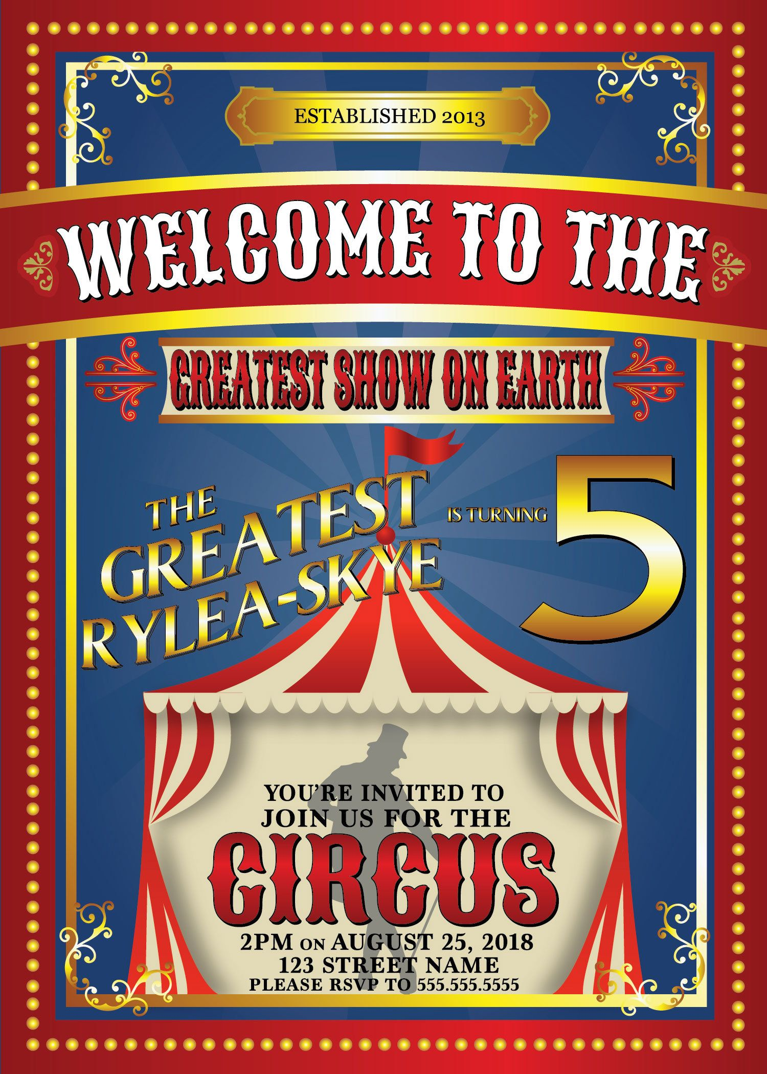 Custom 5x7 Circus Themed Party Invitation Party Invite Template Party Invitations Kids Party Invite Design