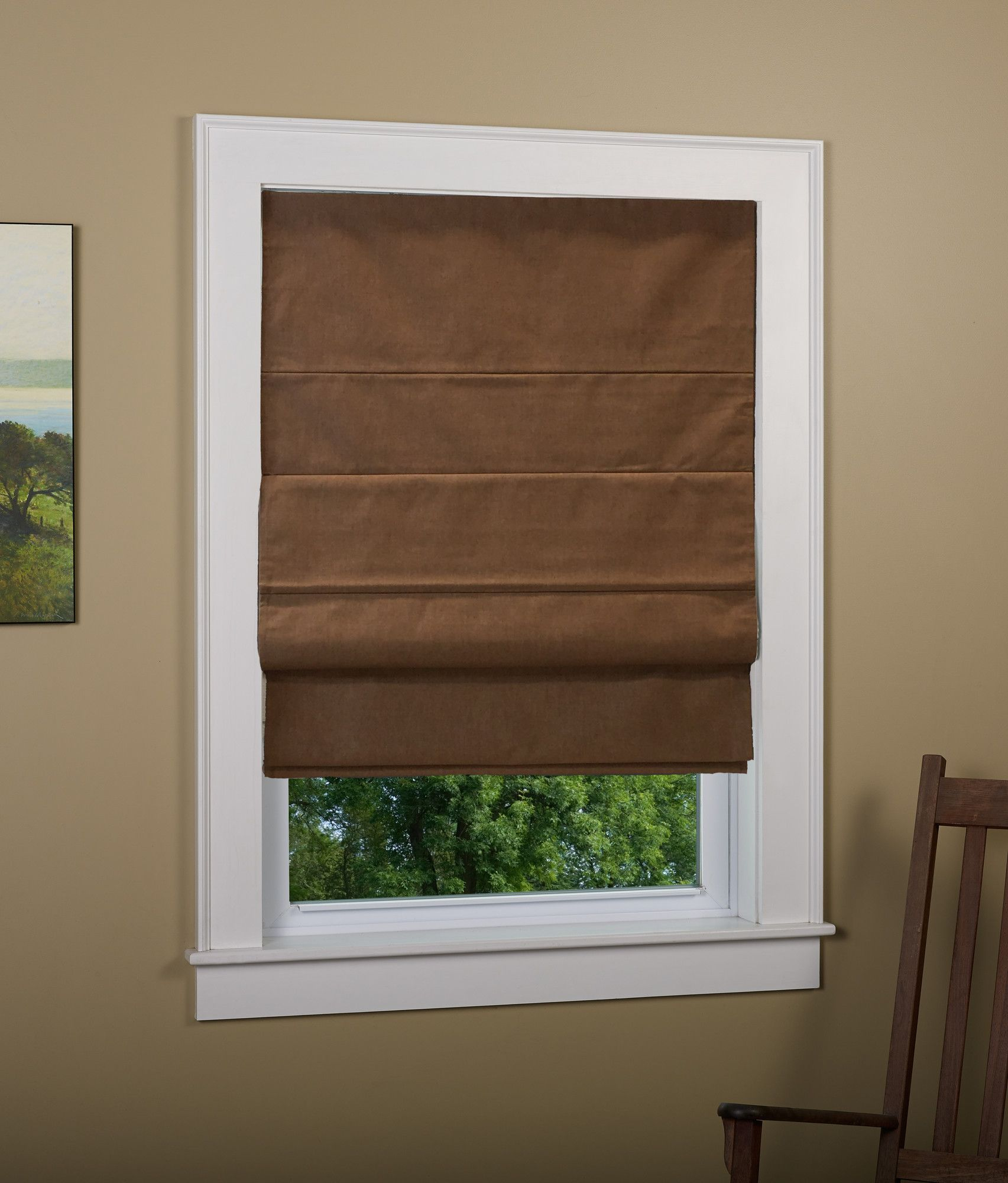 Huntington Linen Cordless Thermal Backed Roman Shade W Blackout Fabric
