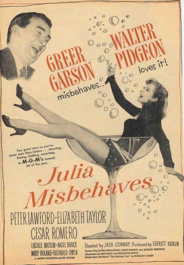 Julia Misbehaves starring Greer Garson, Walter Pidgeon, and Elizabeth Taylor