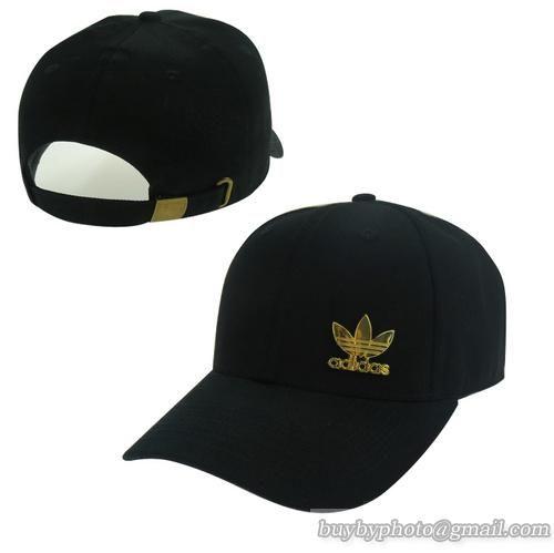Men's / Women's Adidas Side Performance 3-Straps Logo Dad Hat - Black / Gold