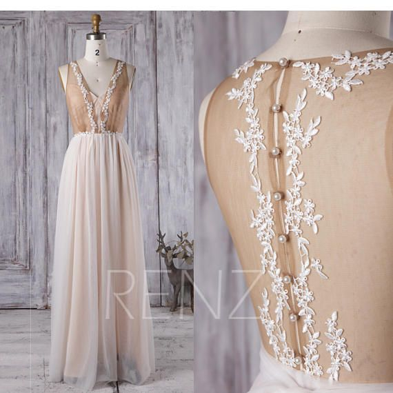 gourgeous non traditional sheer lace champagne wedding dress ...