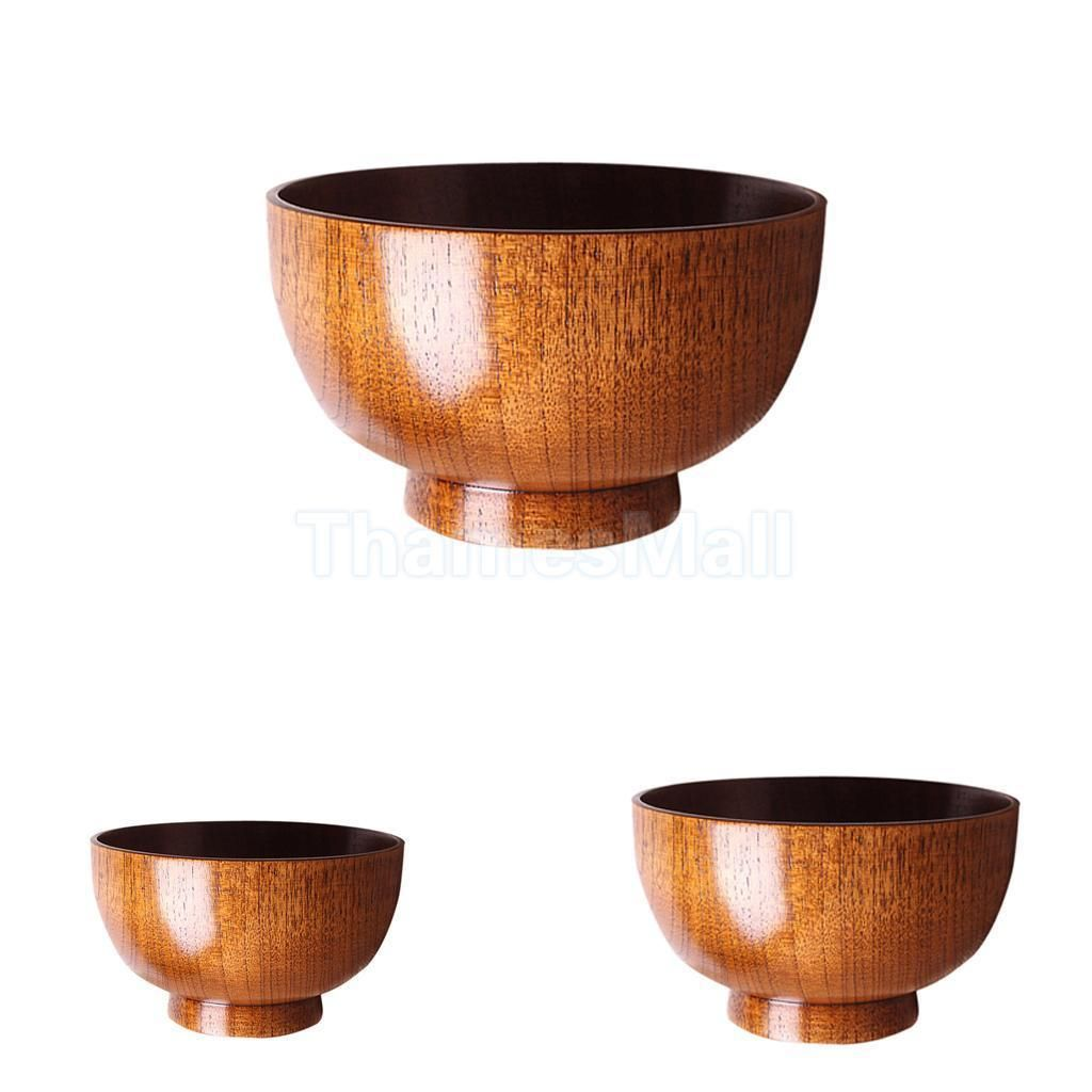 Bowls Wood Miso Rice Bowls Asian Tableware Soup Bowl for Home Restaurant