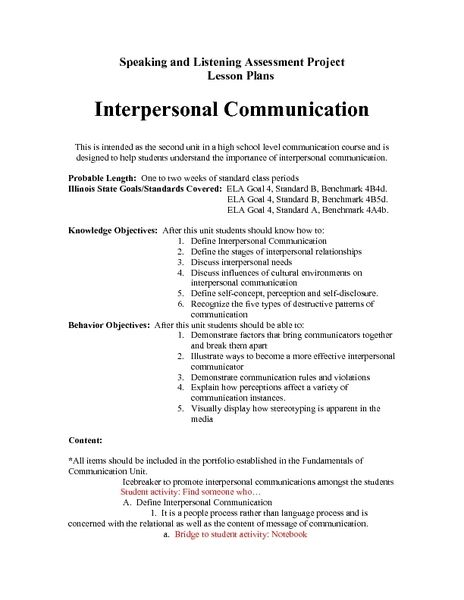 interpersonal communication lesson plan