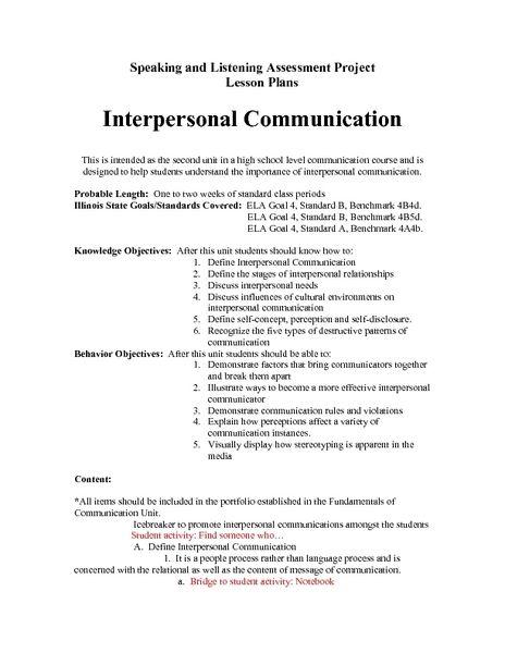 Interpersonal Communication Lesson Plan Interpersonal Communication Interpersonal Interpersonal Skills Activities