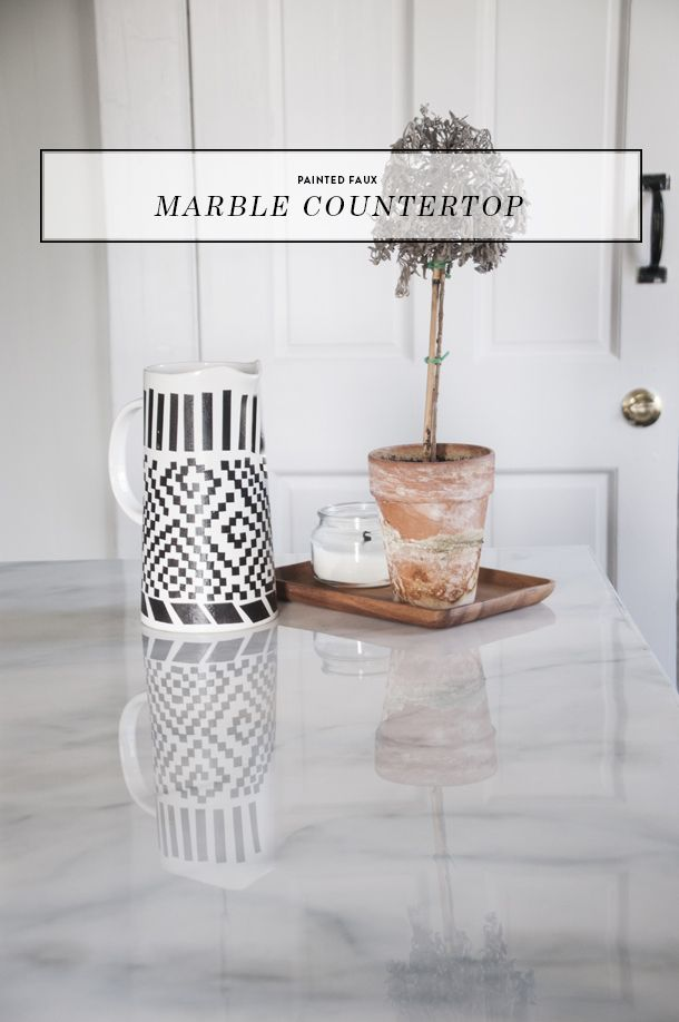 Attractive Painted Faux Marble Countertops