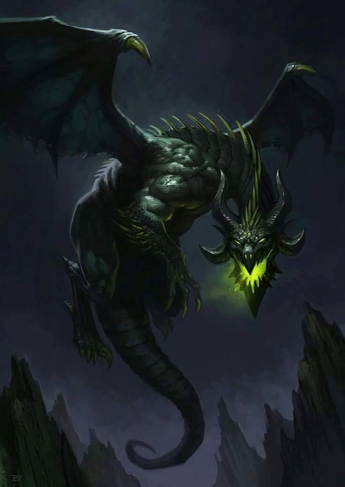口を黄色く光らせるドラゴンの壁紙