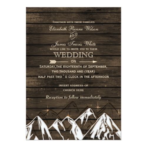 Woodland Wedding Invitation Barnwood Camping Rustic Mountains Wedding Invites
