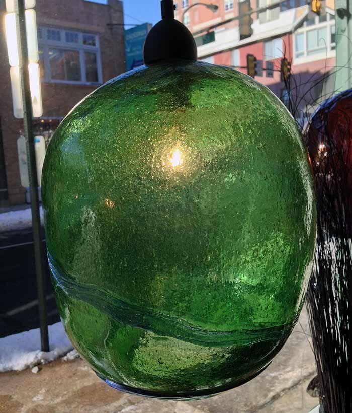 Hand Blown ( Handblown ) Recycled Green Glass Pendant