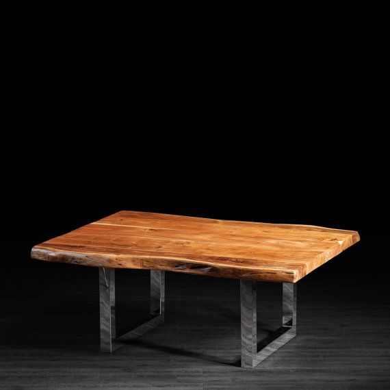 wood slab coffee table with metal legs