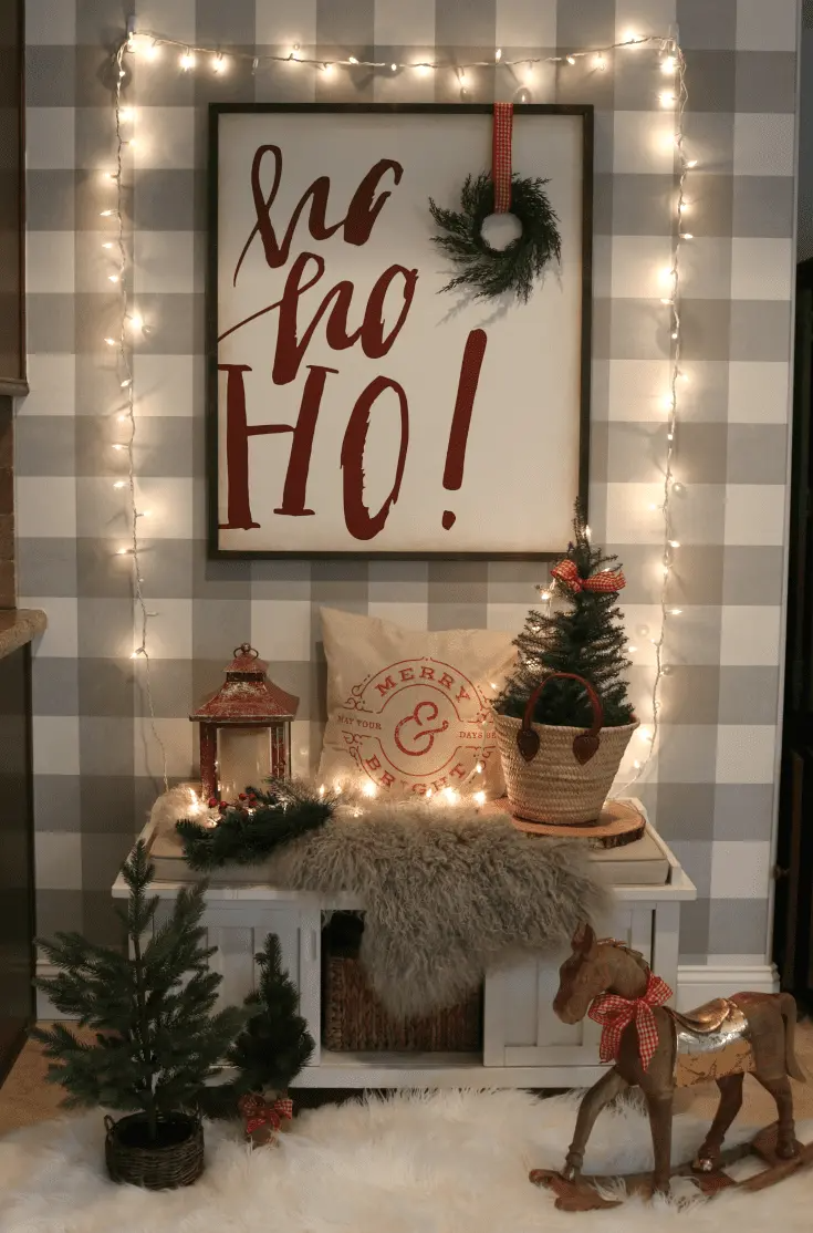 Enjoy my festive buffalo check Christmas Home Tour, complete with how-to's, inspiration, decorating tips, and plenty of sources to create holiday magic in your own home. Enjoy savings coupons to shop beautiful Christmas decor. #christmashome #christmashomedecor #festiveholidayhome #thedesigntwins #holidaylights