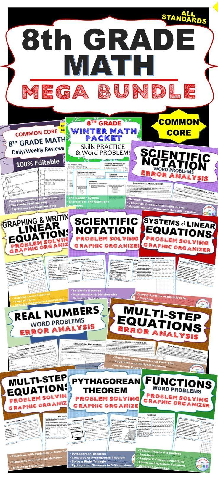 Fresh Ideas - 8th Grade Math COMMON CORE Assessments, WarmUps, Task