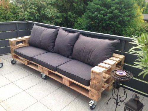 Sofa de jardin hecho con europalets sillones pinterest - Como hacer un sofa con palets ...