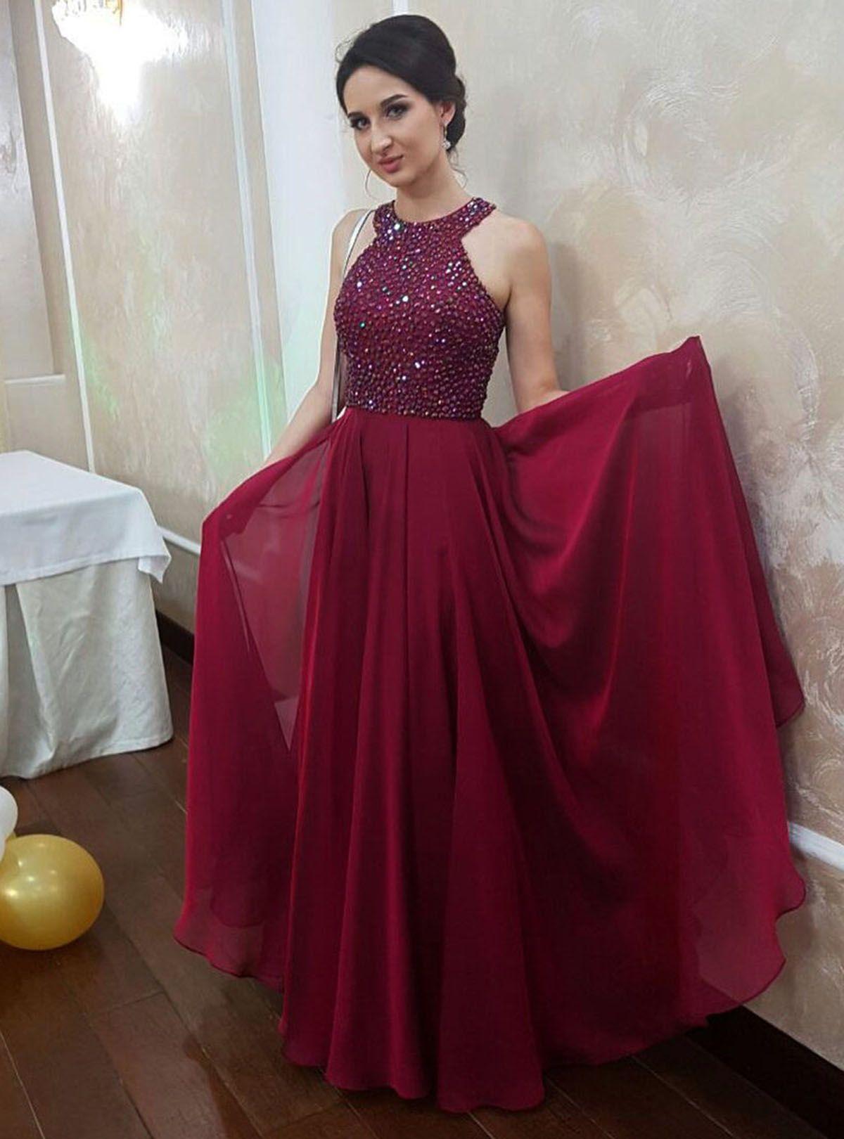 Sparkly beaded burgundy chiffon prom dress for teens promdress