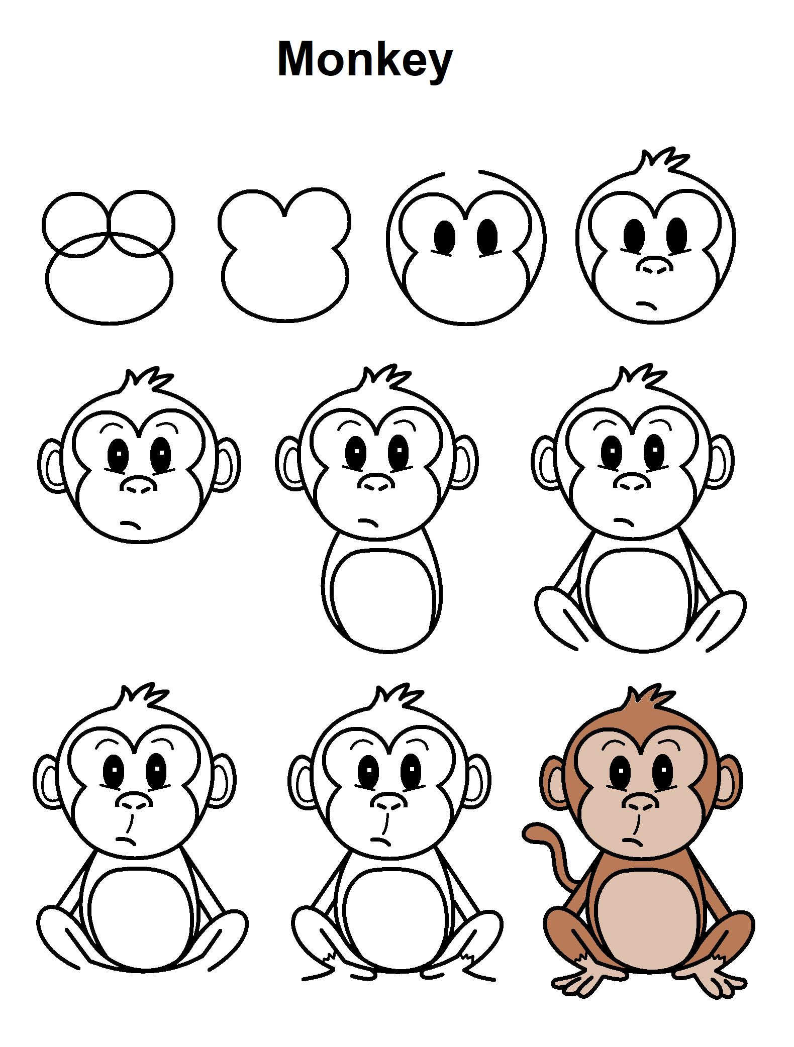 Monkey Monkey Drawing Monkey Drawing Easy Easy Cartoon Drawings
