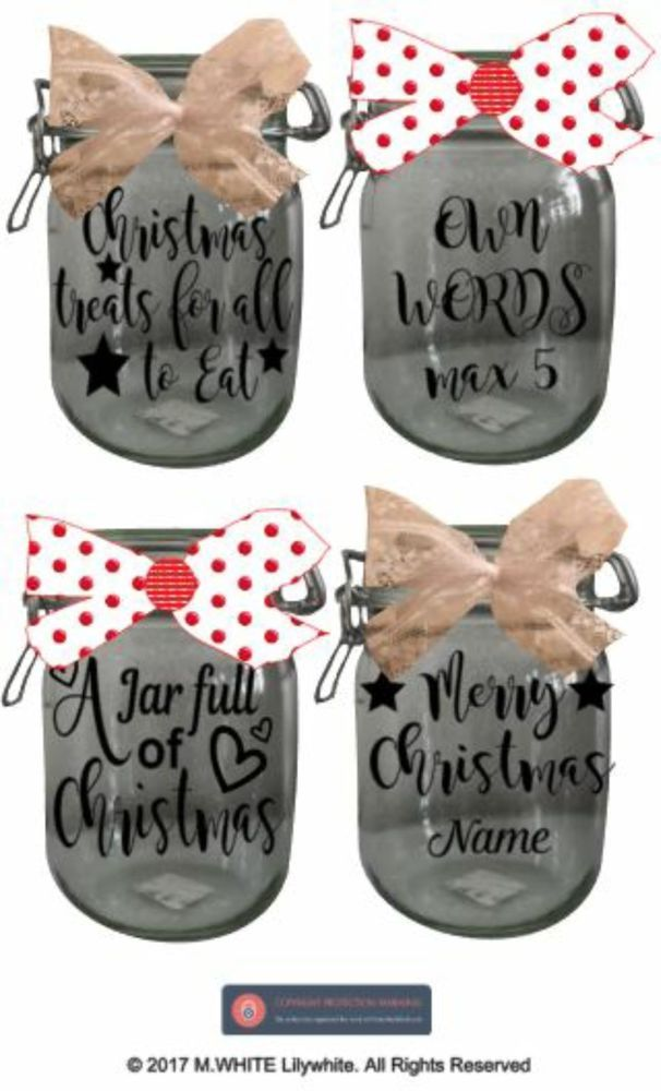 Jar stickers glass jar labels vinyl stickers for christmas gift jars candles unbranded