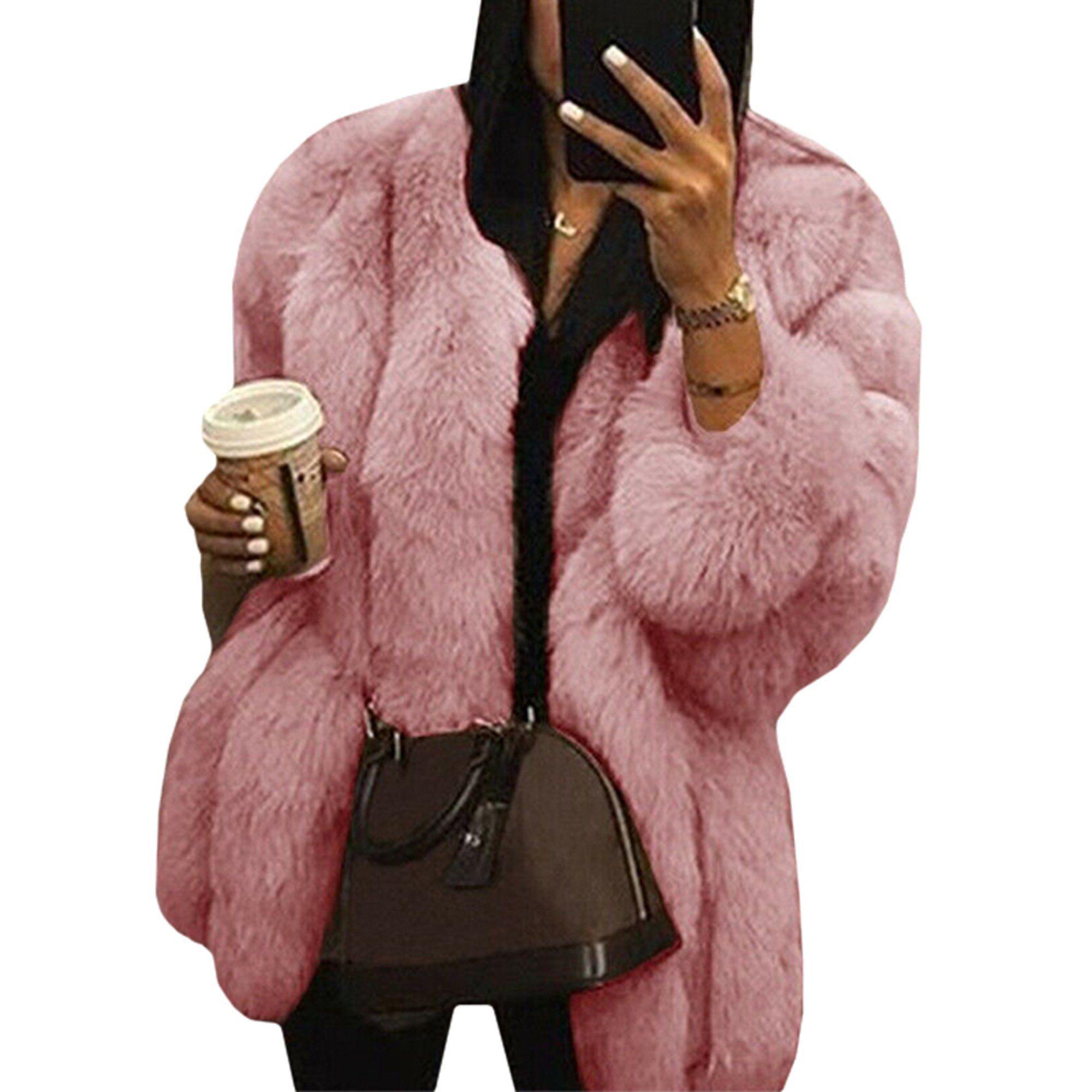 Wodstyle Women S Faux Fur Jacket Coat Winter Warm Thick Party Fluffy Tops Plus Size Walmart Com Faux Fur Jackets Women Fur Coats Women Fur Casual [ 2000 x 2000 Pixel ]