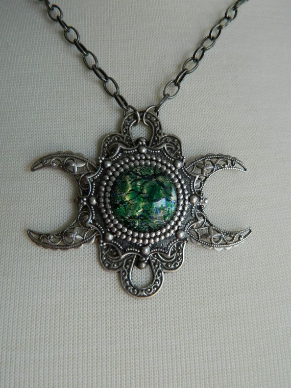 GAEA  Triple Moon Goddess Necklace by Crow Haven by CrowHavenRoad, $45.00