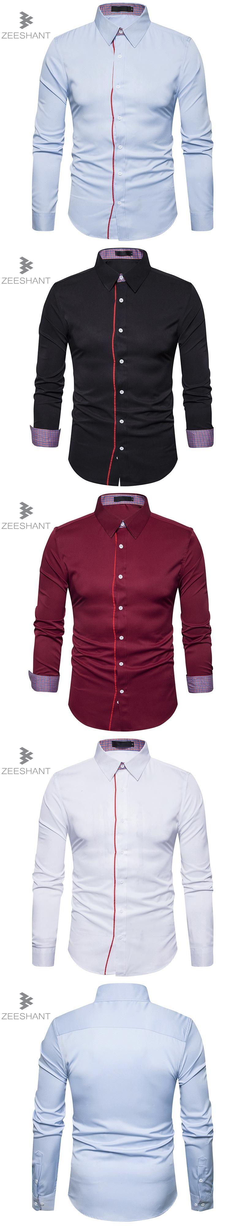 Wedding dress shirts for men  Zeeshant Menus Luxury Shirts Wedding Party Dress Long Sleeve Shirt