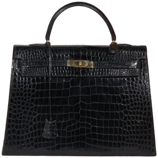 Preowned Hermes Paris Vintage Black Crocodile Skin Leather Kelly Bag 24 909 Liked On Polyvore Featuring Bags Flap