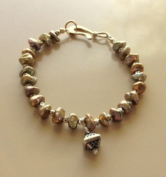 Baroque Freshwater Pearls Bracelet With Vintage by MAGICALUNIVERSE