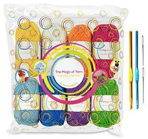 Pack pelotes de laine premium – 8x30g pelotes de laine en acrylique aux couleurs de l'arc-en-ciel – 60 mètres de longueur par pelote –…