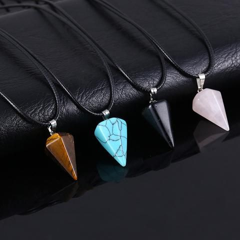 Leather and Natural Stone Cone Shape Necklace
