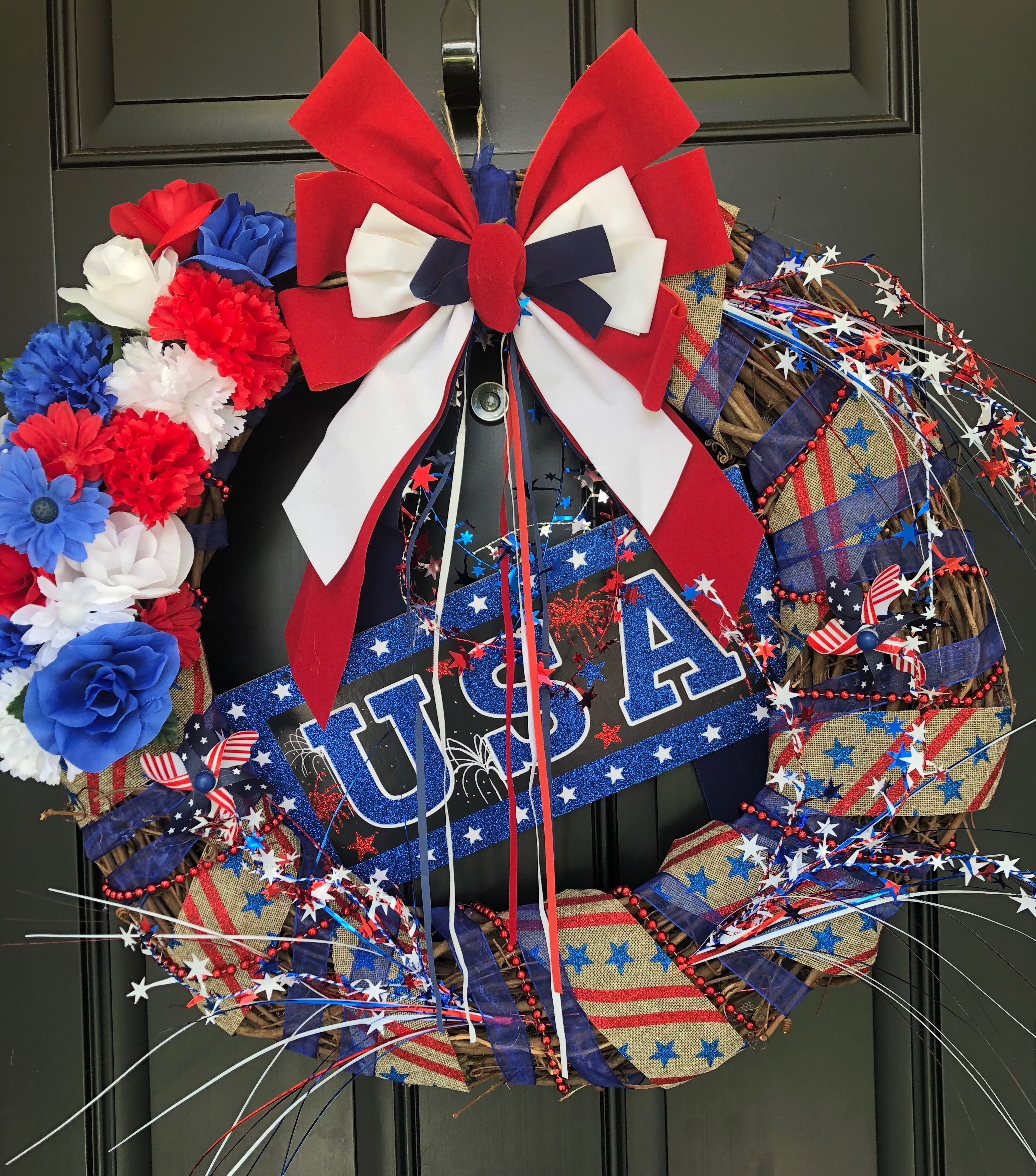 4Th Of July Wreath, Red White And Blue Wreath Made