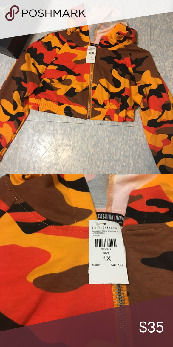 d0e234a2da7 Fashion nova crop orange camo hoodie Never worn. Super cute but doesnt fot  how i want :( Fashion Nova Jackets & Coats