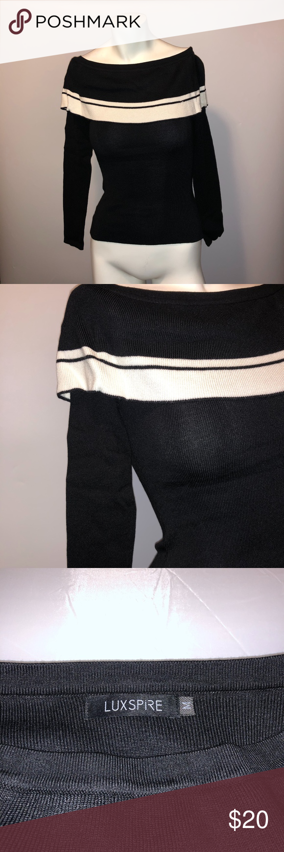 Luxspire Womens Black White Off Shoulder Sweater Luxspire Womens Black White Off Shoulder Sweater   NWOT  Size Large  Length -  18.5