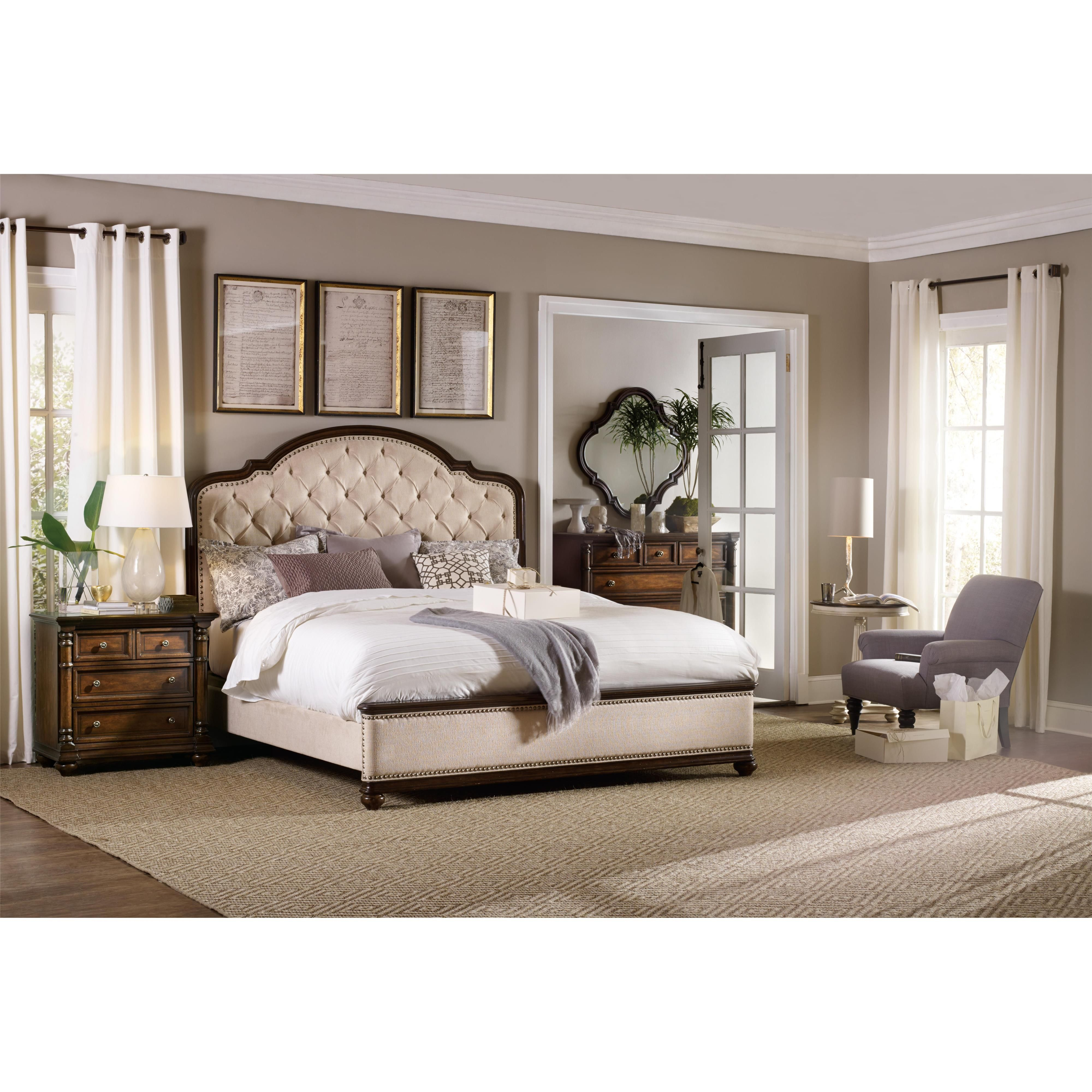 Hooker Furniture Leesburg King Size Upholstered Bed With Tufting   Wayside  Furniture   Upholstered Bed Akron