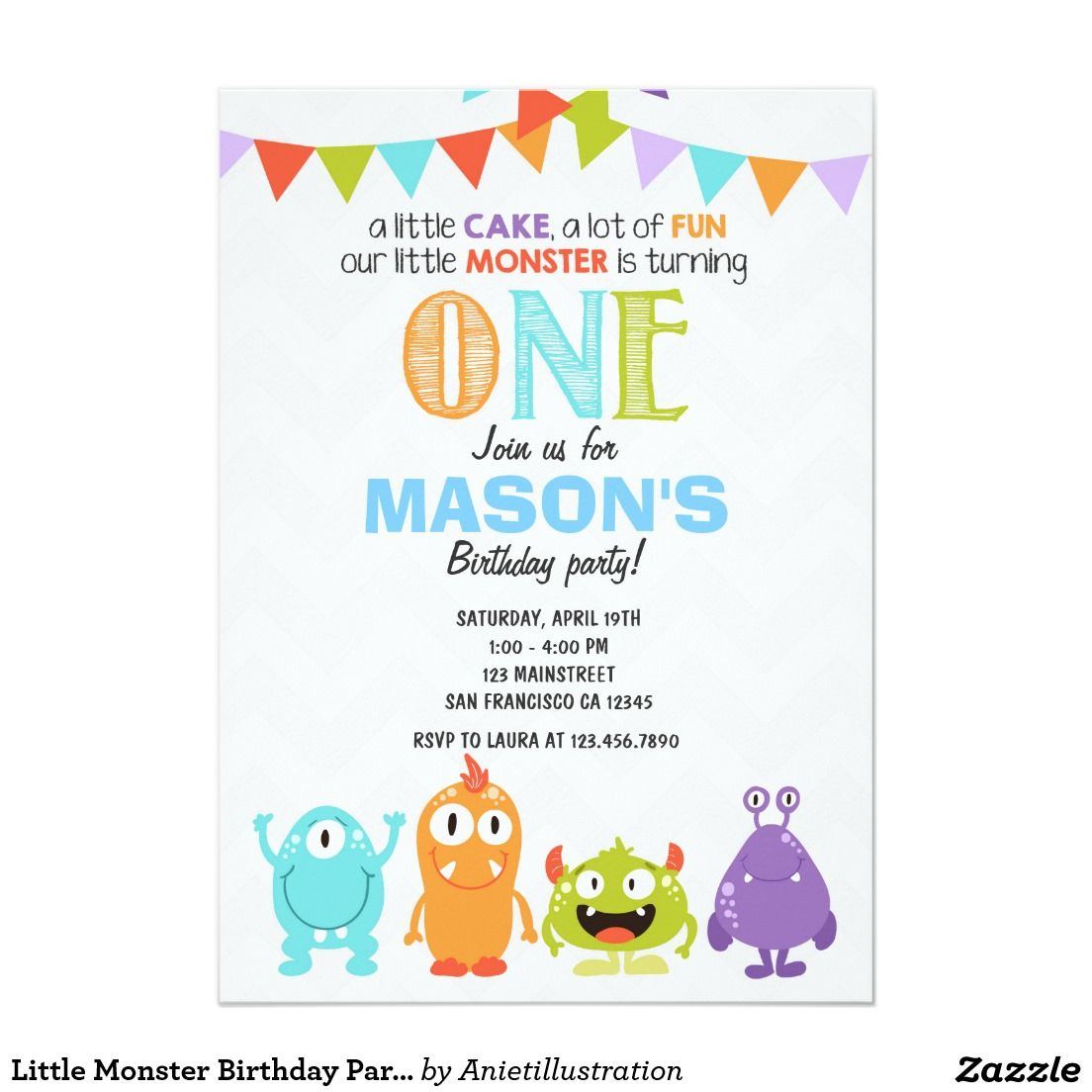 Little Monster Birthday Party Invitation | BOYS\' BIRTHDAY PARTY ...