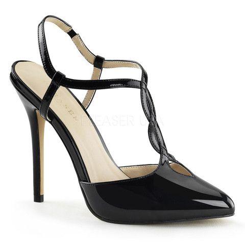 Pleaser AMUSE-17 5 Inch Heel, 3/8 Inch Hidden PF Two Tone T-Strap Sling Sandal