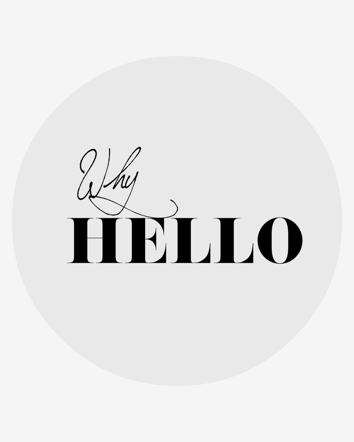 Why hello print digital download printable wall art typography