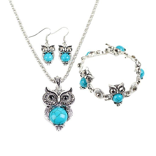 Miraculous garden womens vintage owl jewelry sets silver retro miraculous garden womens vintage owl jewelry sets silver retro turquoise gemstone owl pendant necklace drop earrings aloadofball Image collections