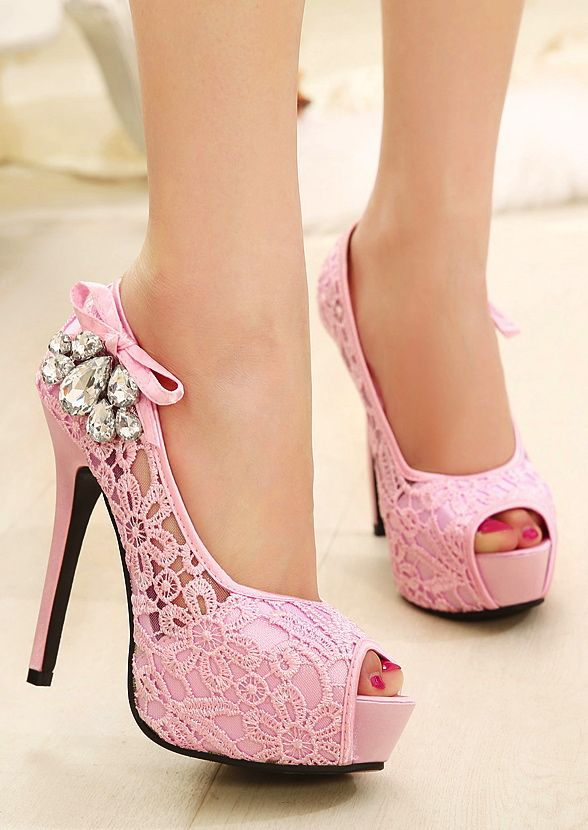 New Fashion Women Pumps Peep Toe Stiletto Platform Lace Rhinestone ...